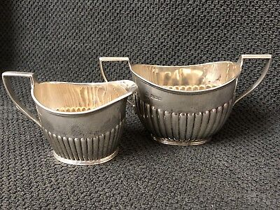 Antique Victorian Sterling Silver Cream Jug and Sugar Bowl -191.96g #GA