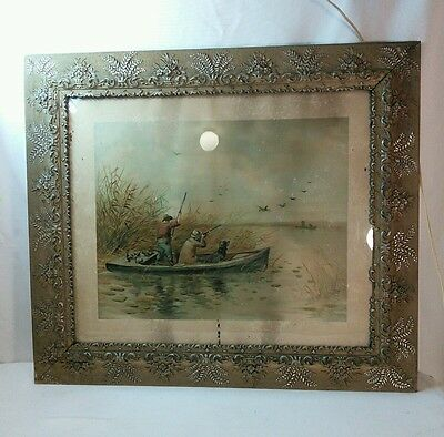 Vtg Antique ORNATE  flowers Victorian Frame LG 1895 Print Duck Hunters Dog
