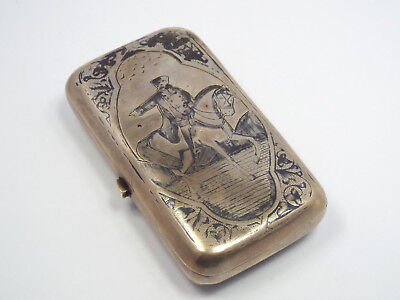 Antique Russian 84 Silver Niello Cigarette Case, Military Man on Horse, 1884