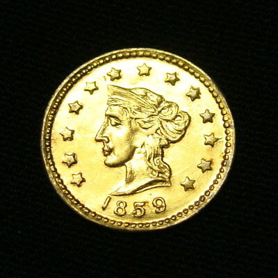 RARE 1859 California Fractional 1/2 dollar Gold … AU ? … nice coin … see photos