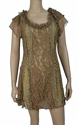 Pretty Angel Victorian Vintage Style Dress Tunic Floral Lace Overlay Brown
