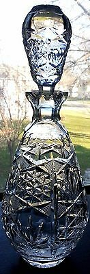 Vintage Cut Glass Decanter, Star Fan Pattern Lead Crystal Bar ware Liquor Bottle