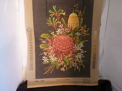 Country Threads Australian Wild Flowers 46Cm X 60Cm Printed Embroidery Tapestry