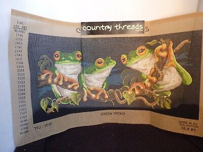 Country Threads Australian Green Frogs 35Cm X 65Cm Printed Embroidery Tapestry