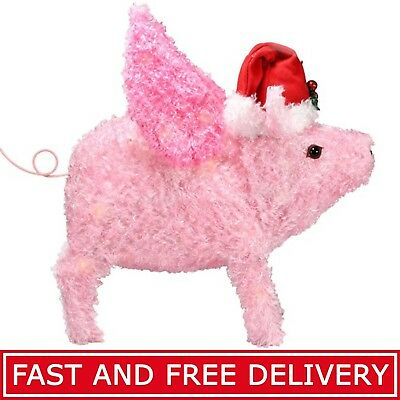 christmas decoration light up fluffy flying pig 26 inch home outdoor yard decor