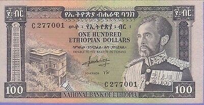 Ethiopia 100 Ethiopian Dollars Banknote,(1966) About Uncirculated Cat#29-A-7001