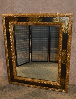 Ornate Vintage Moroccan Style Carved & Painted Wall Mirror