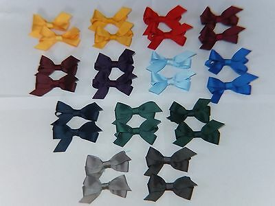 Pair Little Girl Small School Hair Pigtail Bow Elastic Tie/ Clip Royal Green Red