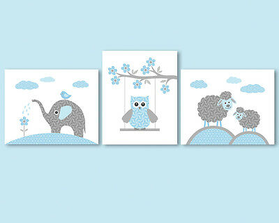 Set of 3 prints / posters for baby boy - elephant, owl, sheep, blue and grey