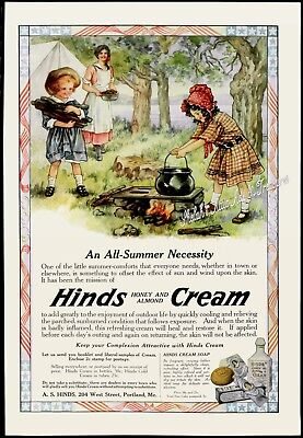 1916 HINDS CREAM Body Lotion Little Girls Bonnets Campfire in Woods Vtg PRINT AD