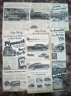 TEN PLYMOUTH AND OTHER 1941 Original Newspaper New Car Ads