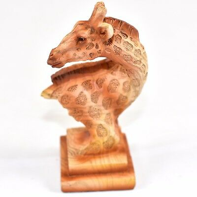 "Faux Wood Pattern Resin African Safari Giraffe Head Bust Small 4"" Figurine"