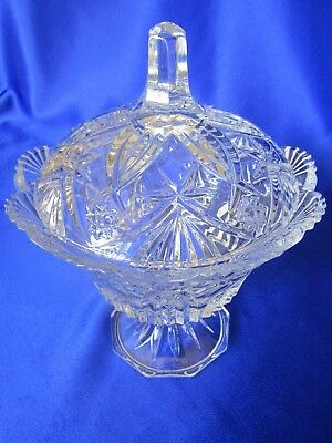 Clear Crystal Lidded Compote * Footed * Cristal D'Arques * Durand* France * Mint