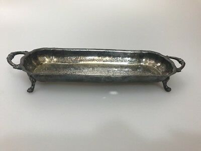 "12 x 4"" Canterbury Silverplate Bread/Serving Tray Handle Claw Legs"