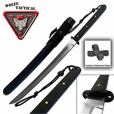 Tactical Knives Wakizashi Sword Full Tang, Carbon Steel Blade With Attachment