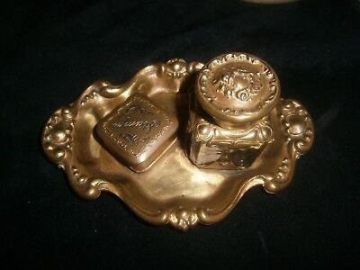 Antique Art Nouveau Inkwell & Stamp Box c. 1890-1910