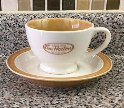 Tim Horton's Tea Coffee Cup And Saucer Set Beige Always Fresh Canada