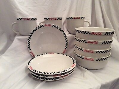 Coca-Cola Set Of Plates, Bowls, Mugs, By Gibson, 2002