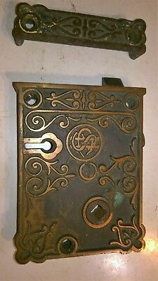 Antique 1800's SCH Scrolled Brass Rim Lock with Catch Plate