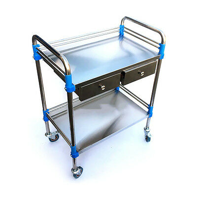 Hospital Clinic Dental Trolley 2 Layer 2 Drawer Medical Cart Stainless Steel KPA
