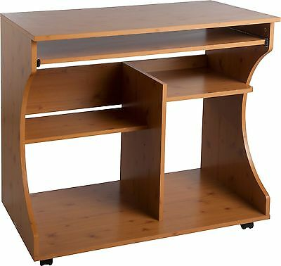 Curved Computer Desk Trolley - Pine Effect.