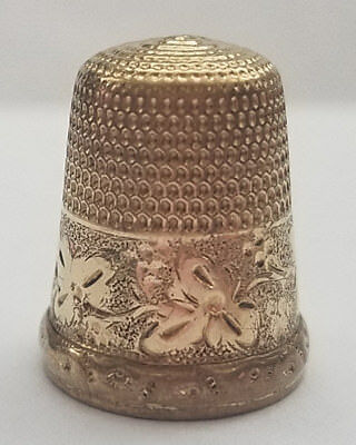Antique Simons Brothers 10k or 14k Gold Thimble Circa 1880, Size 7