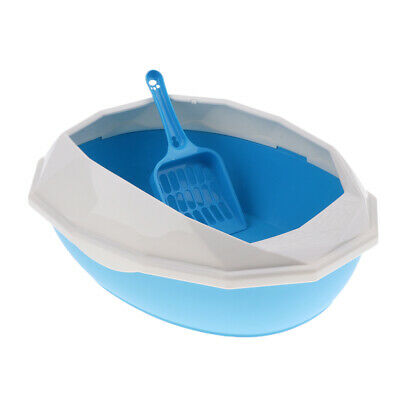 Kitten Litter Tray Cat Litter Box Anti Splash Toilet Fenced Pan with Shovel