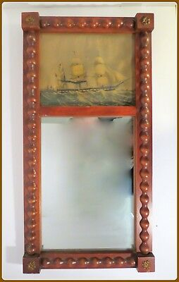Vintage Antique Federal Style Wall Mirror Steam Sailing Ship Print Wood Frame