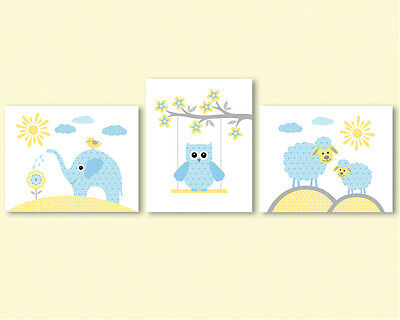 3 prints, art for kids, baby nursery - elephant, owl, sheep - yellow and blue