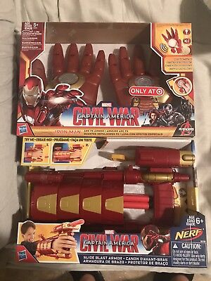 NERF Marvel Civil War Iron Man Slide Blast Armor/iron man repulsor gloves NEW IB