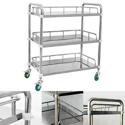 Medical Serving Cart Trolley 3 Layers Hospital Station Surgical Shelf Silver BIN