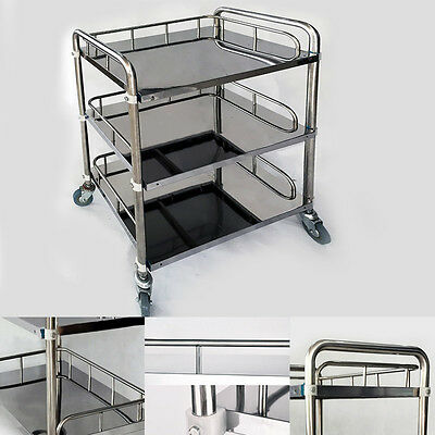 Clinic Medical Serving Cart Trolley 3 Layers Hospital Surgical Shelf Silver KPA
