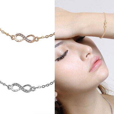 Baby Diamante Simple Love Infinity Anklet Foot Chain Ankle Bracelet Silver Gold