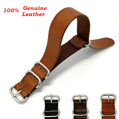 Top Quality Men Genuine Leather Army Military Buckle Watch Strap Band 18/20/22mm