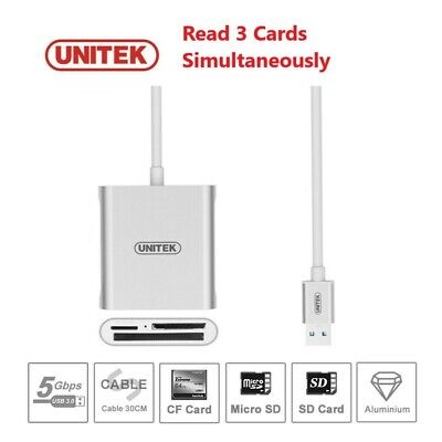 Unitek USB 3.0 Compact Flash Multi Memory Card Reader For TF MS CF SD Card 2TB