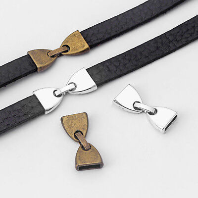 3 Sets Antique Silver/Bronze Flat Snap Clasp for 10mm Flat Leather Bracelet