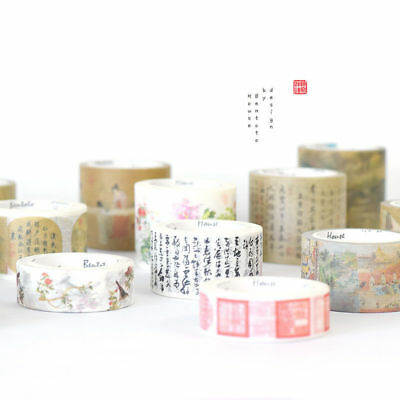 Retro China's Famous Painting Washi Masking Tapes Paper Crafts Scrapbooking DIY
