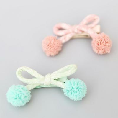 Baby Girls Pom-pom Bowknot Hair Side Clip Headwear Hairpins Bbay Girls Hairclip