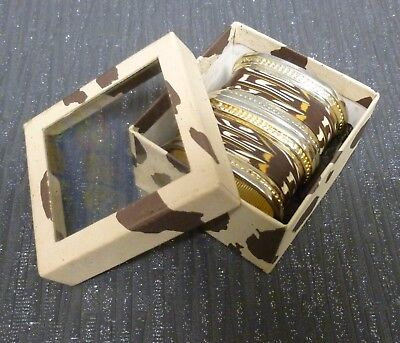 Pair Of Napkin Rings Gold Colour Metal With Leatherette Print Boxed