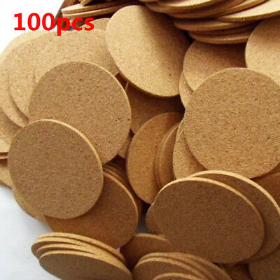 100x Cork Wood Drink Coaster Tea Coffee Cup Mat Padding Table Placemat DH1