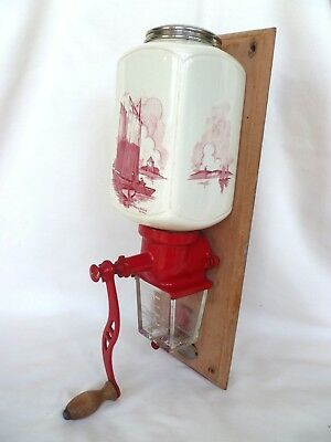 Genuine~Antique~Vintage~FRENCH~Country~Kitchen~Red~&~White~Coffee~Grinder~Mill
