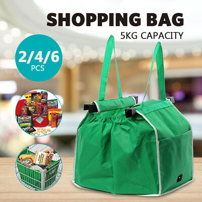 2/4PC Reusable Shopping Bags Eco Grocery Cart Trolley Foldable Bag with Handle