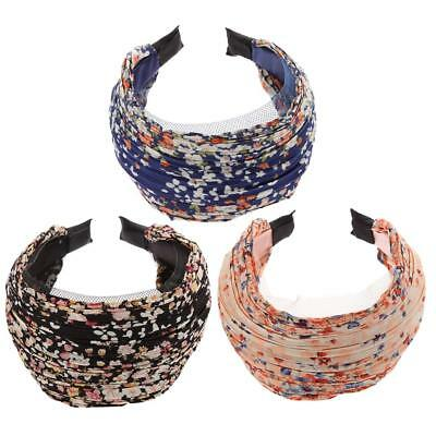 3pcs Womens Floral Lace Pleat Wide Headband Hair Band Hair Aaccessories