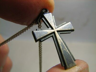 NICE ! OLD VINTAGE STERLING SILVER CHURH CROSS with CHAIN #85