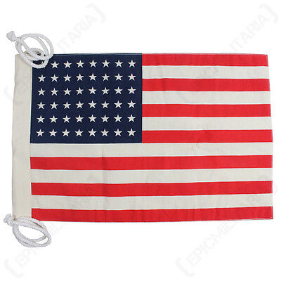 Small Vintage Style US Flag (48 Stars) - Jeep Flag WW2 Repro American Army New