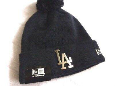 LA DODGERS New Era Baseball Navy RETRO Bobble Beanie Toque Hat MLB Los Angeles