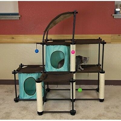 Steel Claw Mega Kit Cat Furniture, Cat Condo Duplex with Toy Green
