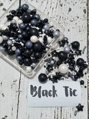 Black Tie White Silver Deluxe Sprinkles Donut Cake Decoration Cupcakes Jumbo Mix