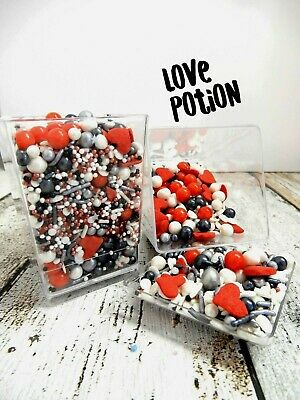 Love Potion Red Hearts White Deluxe Sprinkles Cake Decorations Cupcake Jumbo Mix