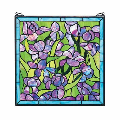 Stained Glass Panel - Van Gogh Saint-Remy Irises Stained Glass Window ... NO TAX